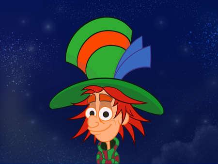 hatter: Hatter in big colorful hat. Kids book digital background raster illustration. Stock Photo