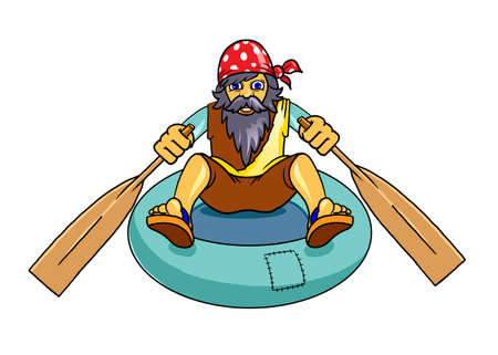 sprightly: Man with beard escaping on a rubber boat. Digital background raster illustration. Stock Photo