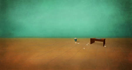 boredom: Table in an empty room. Depression, despair. Boredom. Digital background raster illustration. Stock Photo