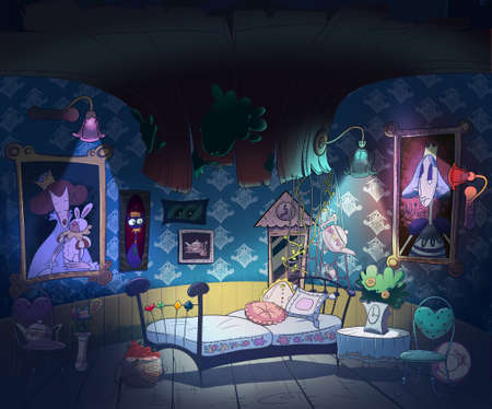 Alice in Wonderland, down the rabbit hole. Kids book picture. Little girl room interior. Digital background raster illustration.