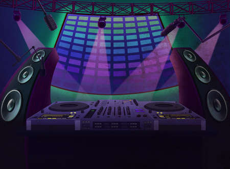 Music controller with mixing console, microphones and dynamics. Party at the night club. Digital background raster illustration.