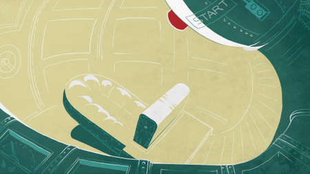 cockpit: Futuristic cockpit in a rocket. Spaceship interior. Digital background raster illustration.