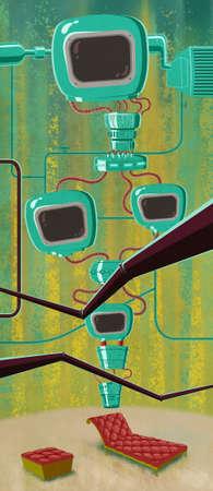 footstool: Brainwashing machine. Futuristic computer. Digital background raster illustration.