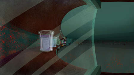 glass shelves: Shelves with Glass Jars in a Living Room. Digital background raster illustration.