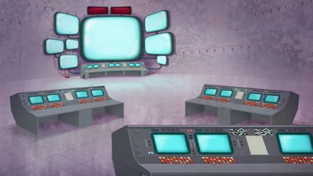 mision: Centro de Control de Misión del Interior. Centro de datos con los paneles de control, ordenadores, pantallas. Digital ilustración de la trama de fondo. Foto de archivo