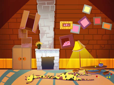 stovepipe: Living Room with Fireplace, Chimney and Photo Frames. Digital background raster illustration for kids book.