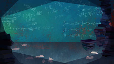 living room wall: Mathematical Formulas written on the Wall in a Living Room full of Books. Digital background raster illustration.