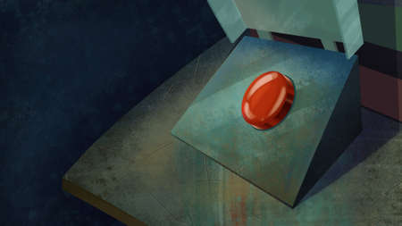 shiny button: Red Shiny Button on a Table. Digital background raster illustration.