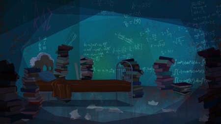 bedroom wall: Mathematical Formulas written on the Wall in a Bedroom full of Books. Digital background raster illustration. Stock Photo