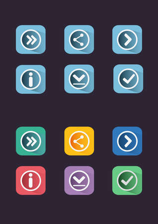 navigation buttons: Flat icon set. Navigation buttons. Digital background vector illustration. Illustration