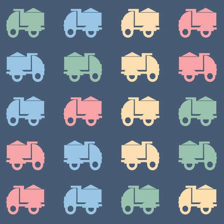 tipper: Flat tipper truck on dark gray backdrop. Digital background vector pattern.