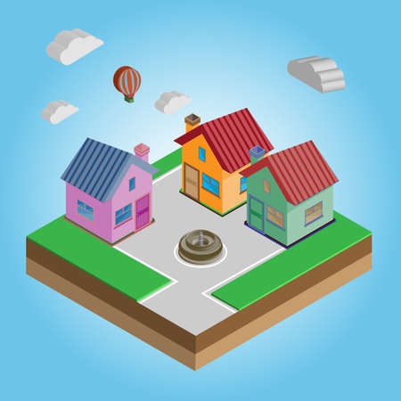 flying balloon: Isometric Houses on a Street. Flying Balloon in the Sky with Clouds. Construction Company Advertising Banner. Digital background vector illustration.