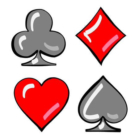 cards deck: Cards deck. Four card suits isolated on white. Digital background vector illustration
