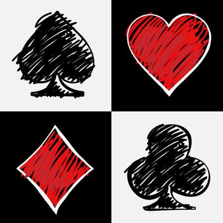 cartas de poker: Cuatro juegos de la tarjeta aisladas en cuadrados blancos y negros. Tarjetas cubierta, dibujo a mano. Digital ilustraci�n vectorial de fondo.