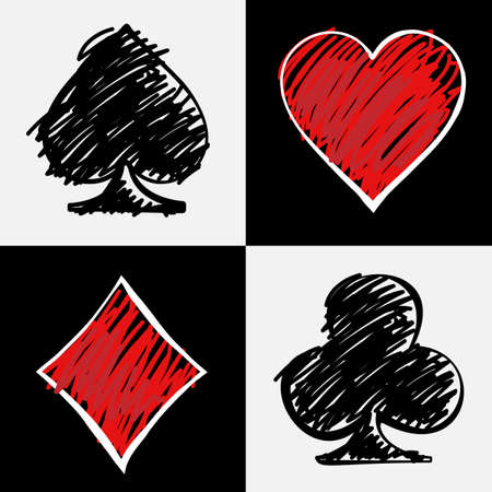 cards poker: Four card suits isolated on black and white squares. Cards deck, hand drawing. Digital background vector illustration.