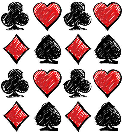 cards deck: Hand drawn four card suits on the white backdrop. Cards deck. Digital background vector pattern.