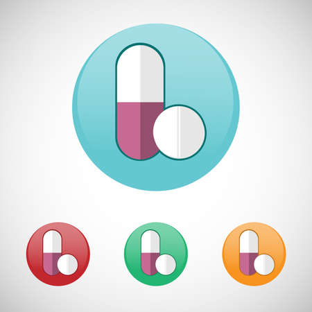 pastille: Pills. Healthcare. Digital background medical vector icon set isolated on colorful round buttons.