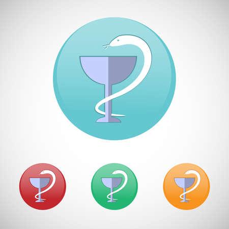 medicine logo: Logotipo de Medicina. S�mbolo de Farmacia. Serpiente y la copa. Cuidado de la salud. Digital fondo vector m�dica icono conjunto aislado en coloridos botones redondos.