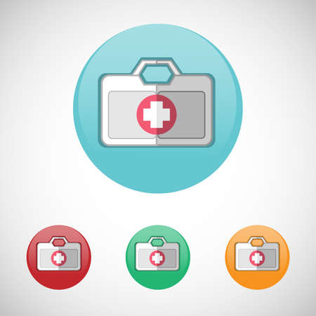 First aid kit. Emergency kit. Healthcare. Digital background medical vector icon set isolated on colorful round buttons. Ilustracja