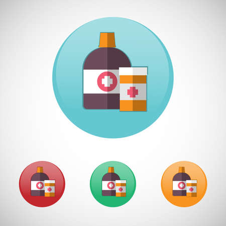 mixture: Mixture solution bottles. Healthcare. Digital background medical vector icon set isolated on colorful round buttons.