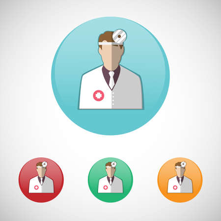 otolaryngologist: Otolaryngologist. Doctor in white coat with frontal reflector. Healthcare. Digital background medical vector icon set isolated on colorful round buttons.