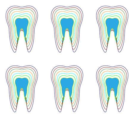 Multiple teeth silhouette on white backdrop. Digital background vector pattern. Illustration