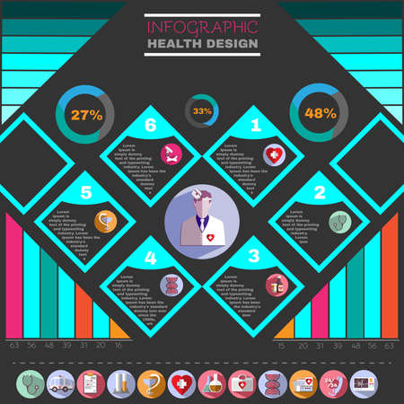 an injector: Medical Vector Infographic. Health Design Flyer. Healthcare Related Colorful Icons. Digital Background Banner Illustration.