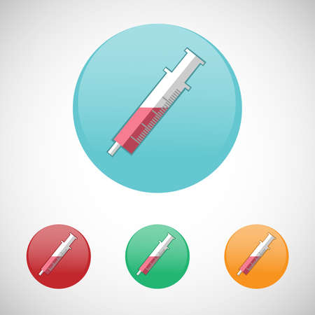 injector: Syringe, injector. Healthcare. Digital background medical vector icon set isolated on colorful round buttons.