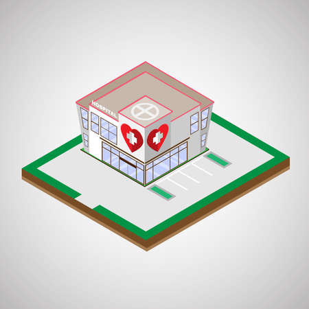 building lot: Hospital Isometric Building with Two Floors and a Parking Lot. Healthcare Institution. Digital background medical vector illustration.