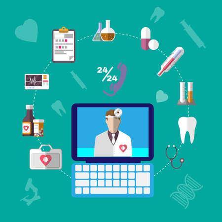 Gezondheidszorg Betrokken Objects. Kleurrijke Medische Infographics Pictogrammen. Digitale achtergrond vector illustratie.