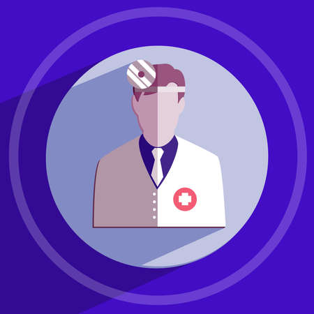 cross ties: Otolaryngologist. Doctor in white coat with frontal reflector. Healthcare. Digital background medical vector icon isolated on blue round button. Illustration