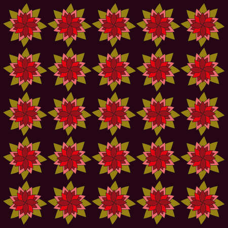 dark olive: Burgundy red flowers on dark backdrop. Seamless digital background pattern.