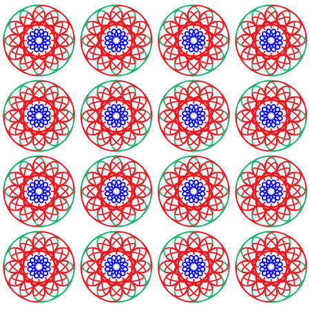old fashioned: Old fashioned floral print for fabric. Seamless pattern of various colors with dominant red color. Digital background illustration.
