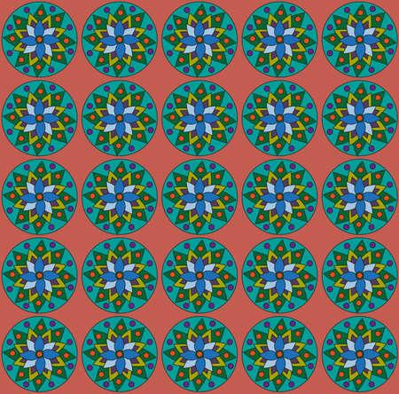 dark olive: Geometrical flowers on pastel red backdrop. Digital background pattern.