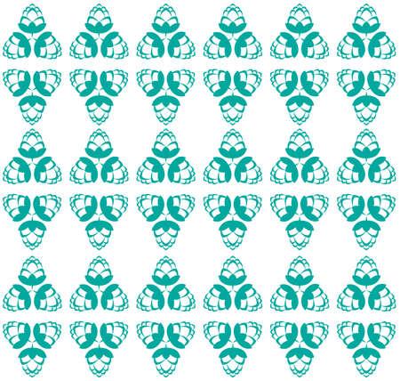 アクアマリン: Aquamarine hop flowers digital seamless pattern. Background rhombus and triangle abstract flowers illustration.