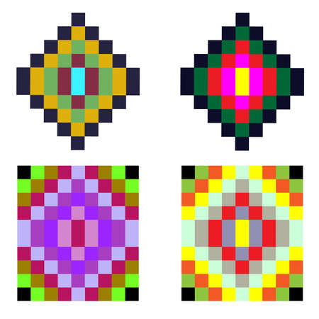 old square: Old fashioned square ornament elements. Colorful geometric tracery background Illustration