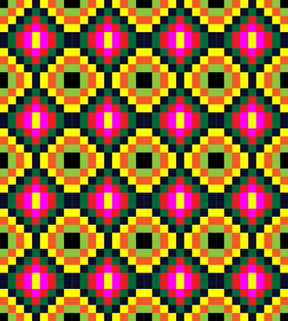 old fashioned: Old fashioned square ornament with dominant pink color. Colorful geometric seamless pattern illustration background. Illustration