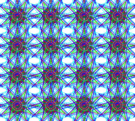 dominant: Abstract seamless floral pattern of various neon colors with dominant blue color. Digital background illustration. Illustration