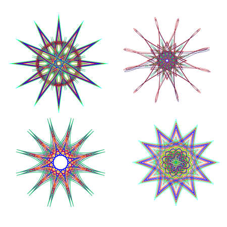 neon plant: Abstract snowflake flowers of various shapes and neon colors. Digital background illustration.