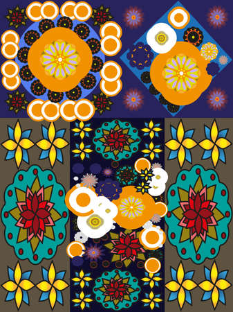 stretched: Stretched colorful flower pattern. Digital background pattern.