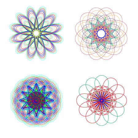 neon plant: Abstract flowers of various shapes and neon colors. Digital background illustration.