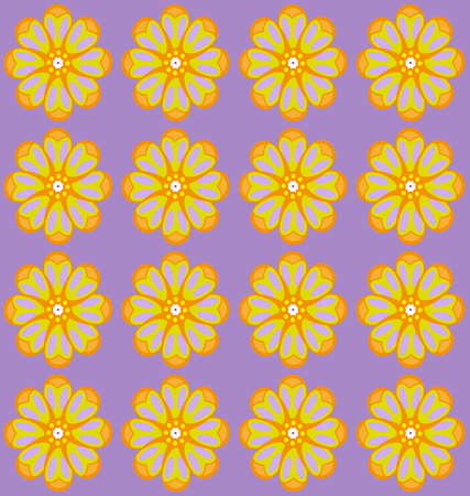 amber: Yellow amber flowers on lilac backdrop. Digital background pattern. Illustration