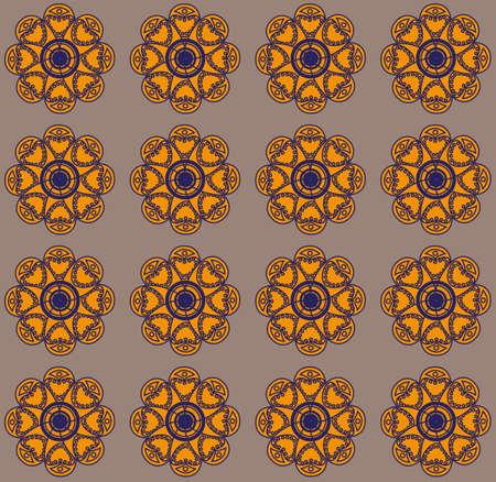 Amber flowers on grey backdrop. Digital background pattern.