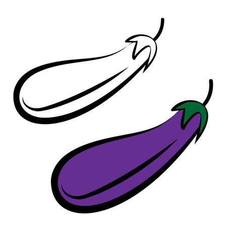 veggies: Yummy veggies. Juicy purple aubergine. Healthy summer treats. Digital vector illustration isolated on white.
