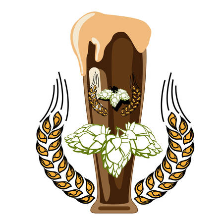hops: Glass of dark beer with foam on the top and hops isolated on the white backdrop. Digital background vector illustration