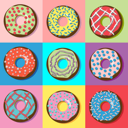 Tasty donuts with various filling and sprinkles. Yummy treats and sweets. Digital vector illustration isolated on white.
