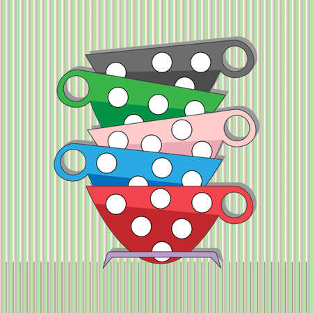 family isolated: Tea, coffee cups. Good morning. Friendly family concept. Digital vector illustration isolated on the lined green and gray backdrop. Illustration