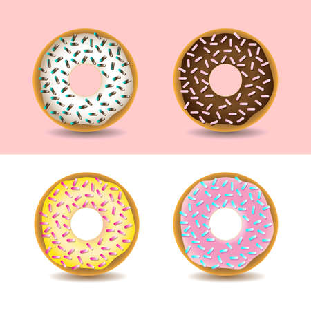 sprinkles: Pink, yellow, white and chocolate cream donuts with sprinkles. Yummy treats and sweets. Digital vector illustration isolated on white.