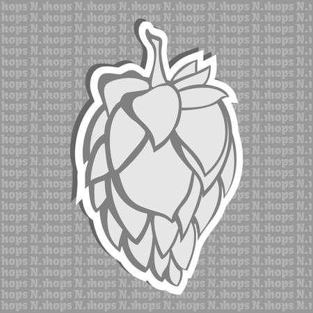 restlessness: Gray Hop Flower Vector Illustration. Final image ready for beer marketing & selling purposes. Also used in herbal medicine as a treatment for insomnia, anxiety, restlessness.