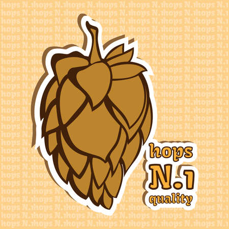 insomnia: Golden Yellow Hop Flower Vector Illustration. Number 1 Quality Product. Final image ready for beer marketing & selling purposes. Used in medicine as a treatment for insomnia, anxiety, restlessness.
